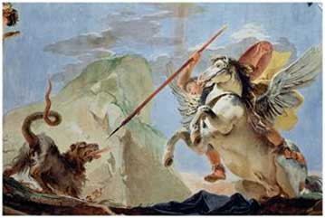 Bellerophon, Riding Pegasus, Slaying the Chimaera