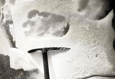 Eric Shipton's spotted Yeti footprints